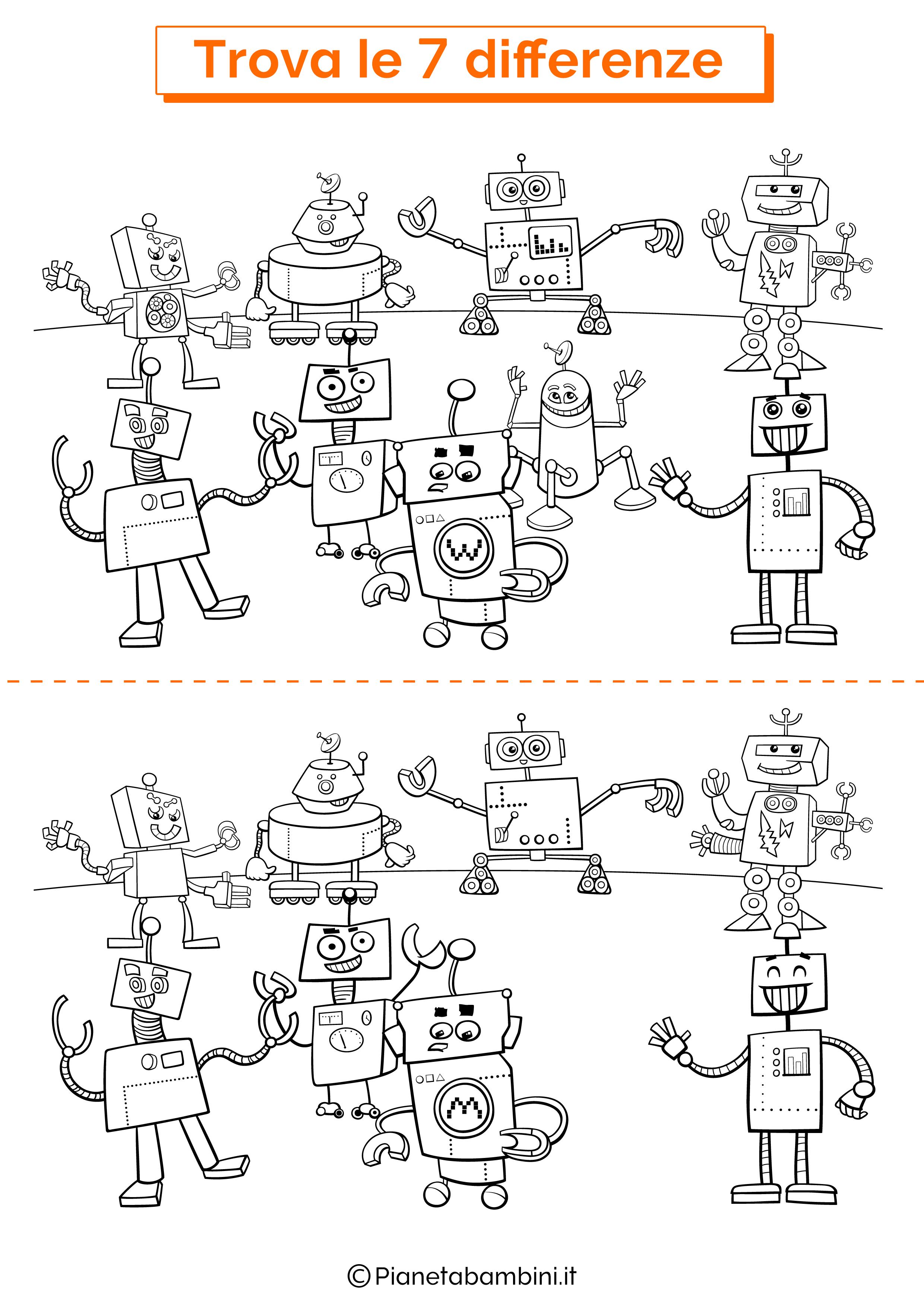 Disegno trova 7 differenze robot 1