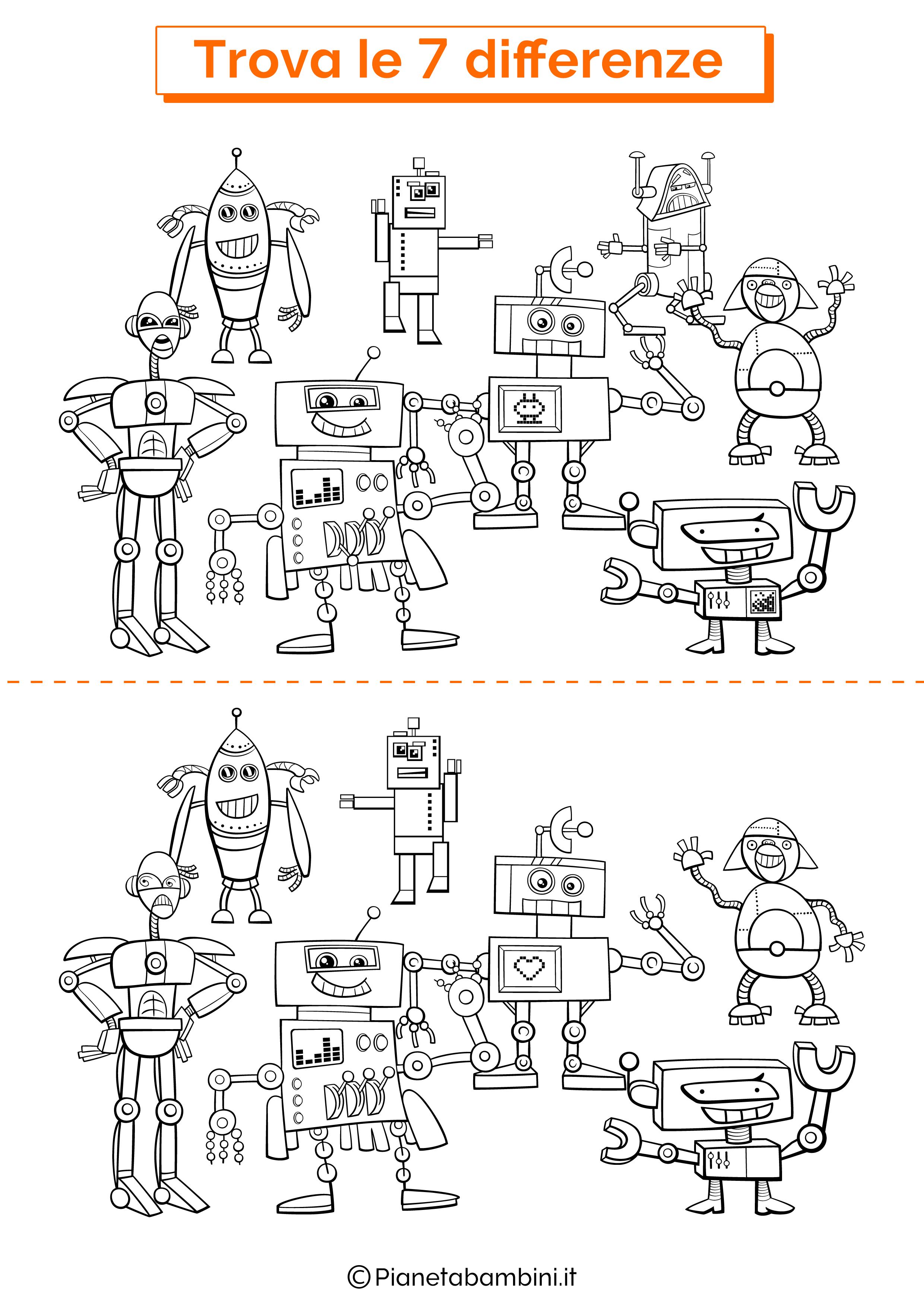 Disegno trova 7 differenze robot 2