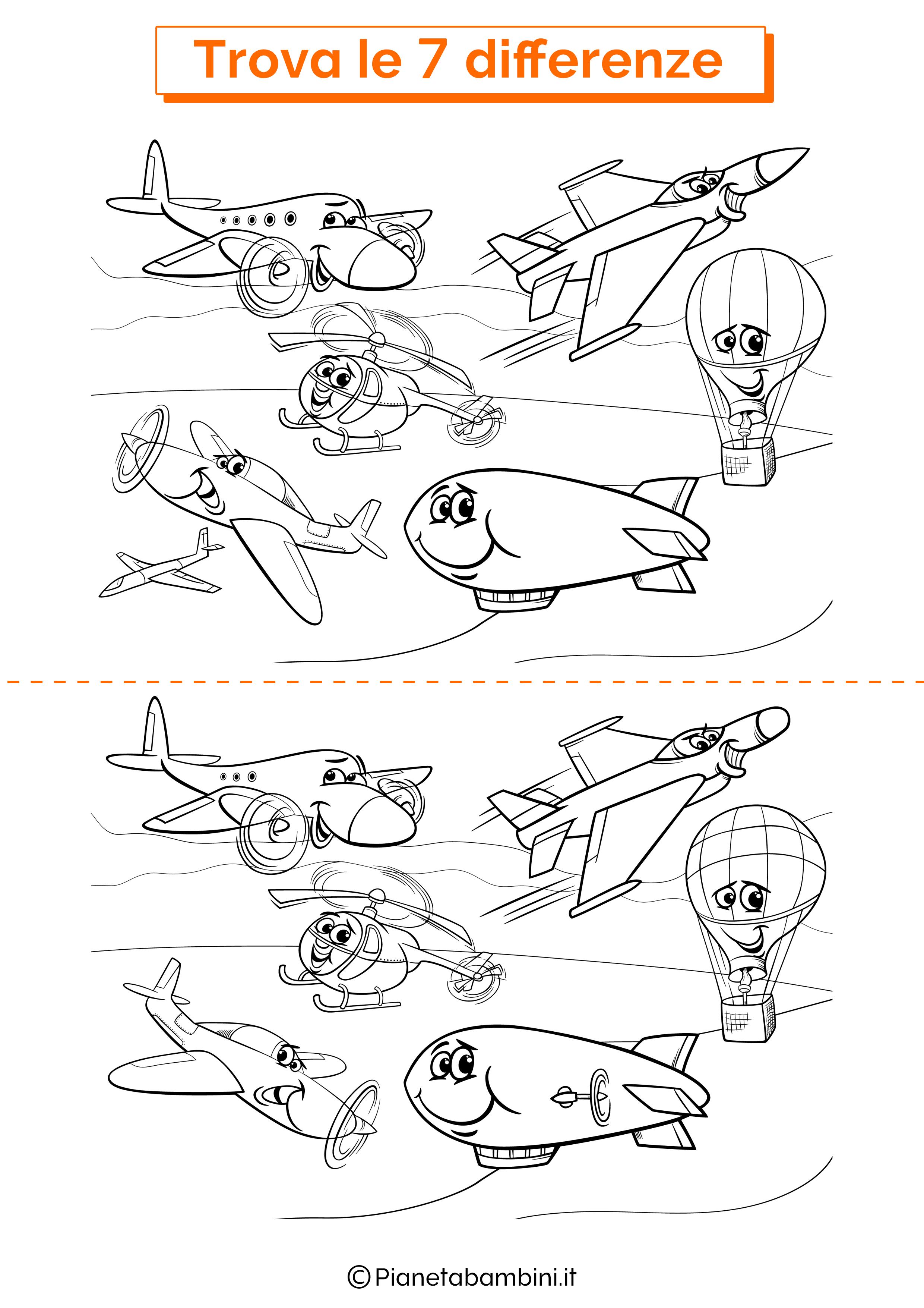 Disegno trova 7 differenze veicoli volanti