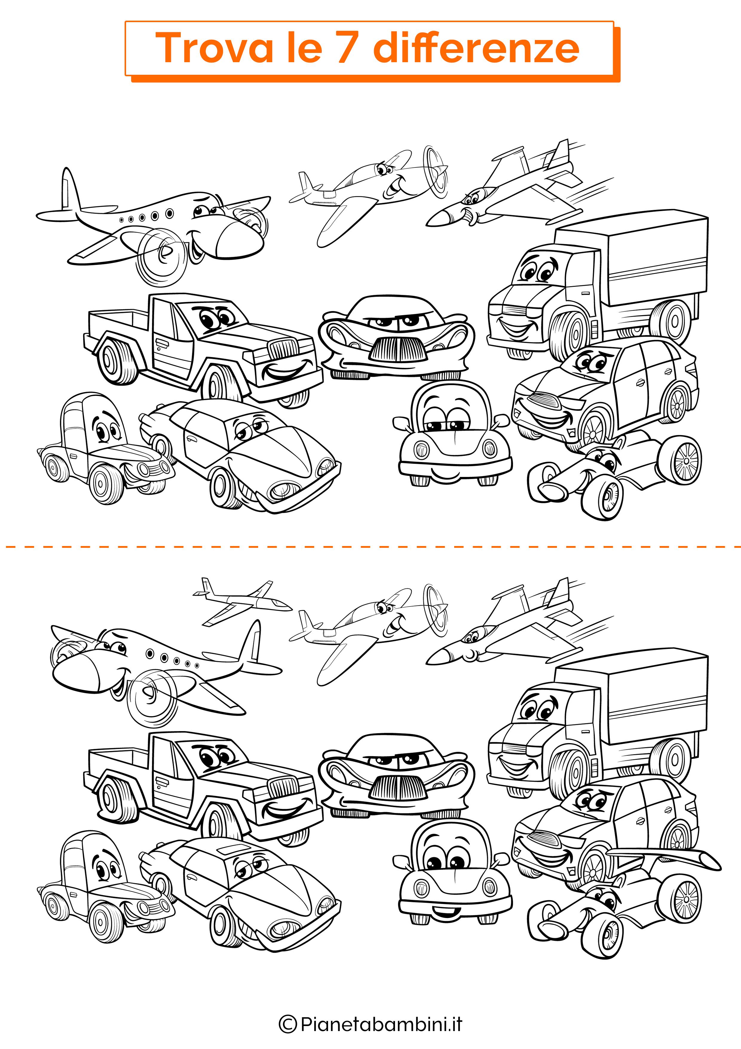 Disegno trova 7 differenze veicoli