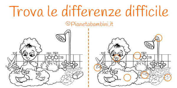 Gioco trova le differenze difficile da stampare