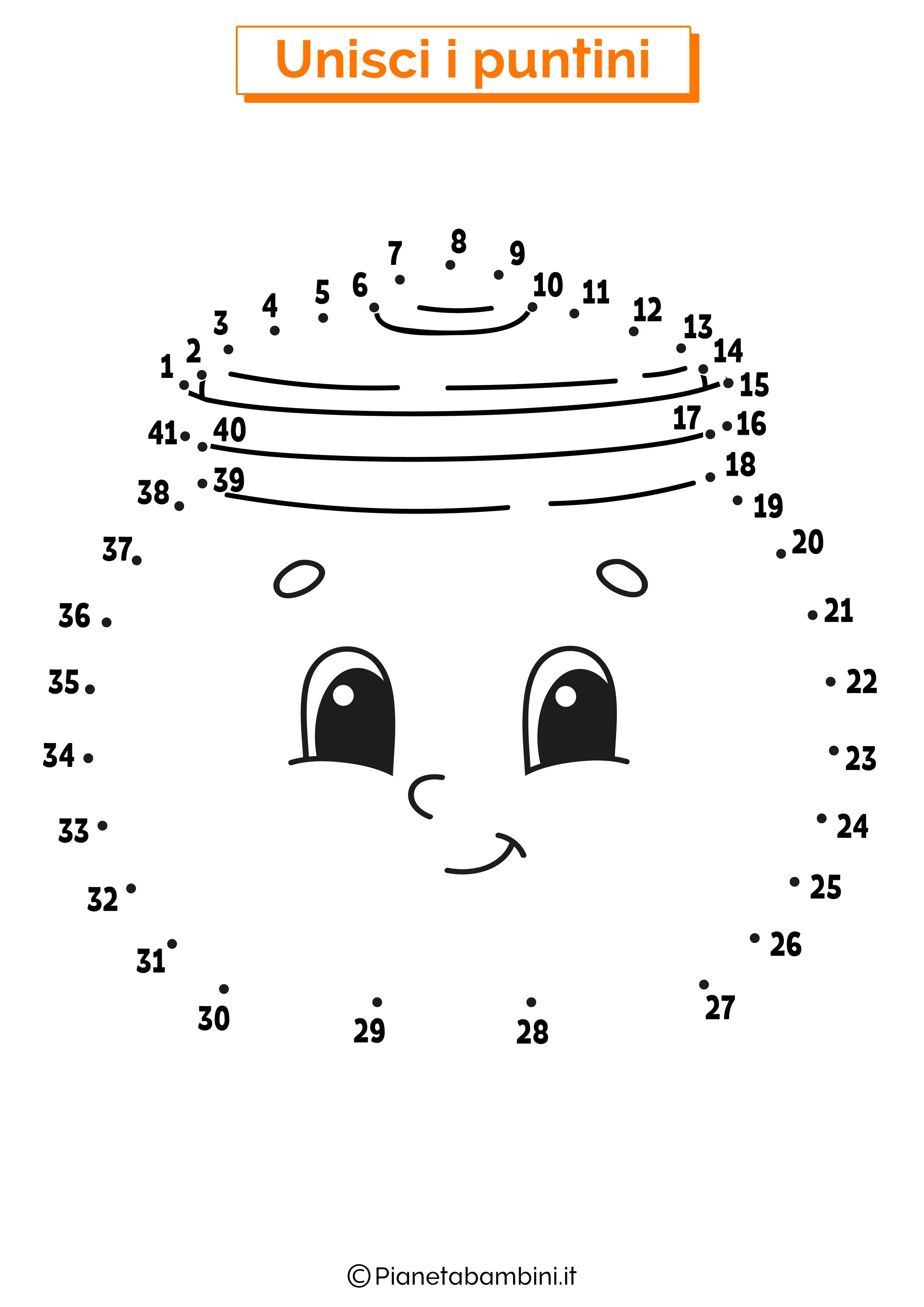 Disegno unisci i puntini 1-40 barattolo