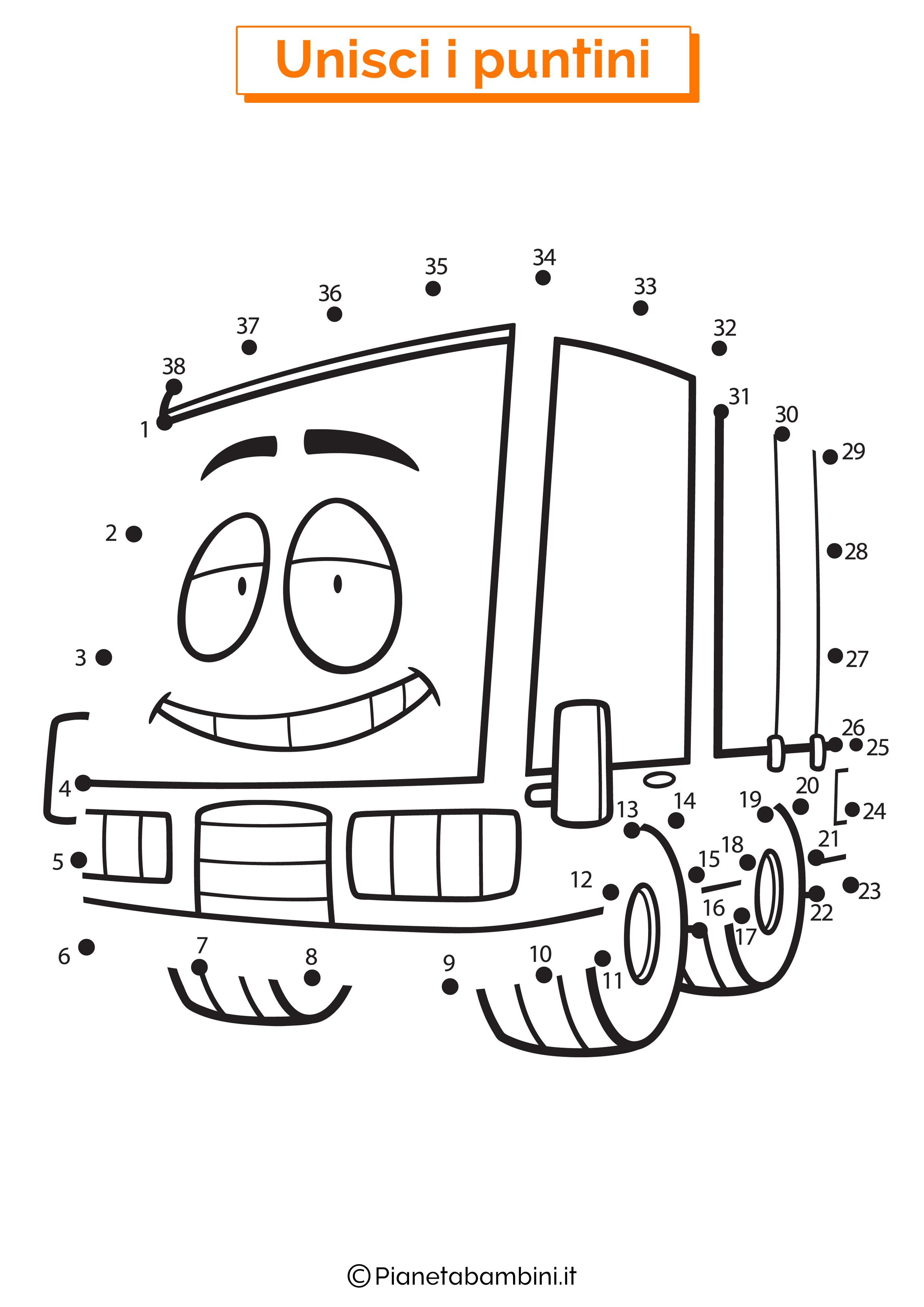 Disegno unisci i puntini 1-40 camion