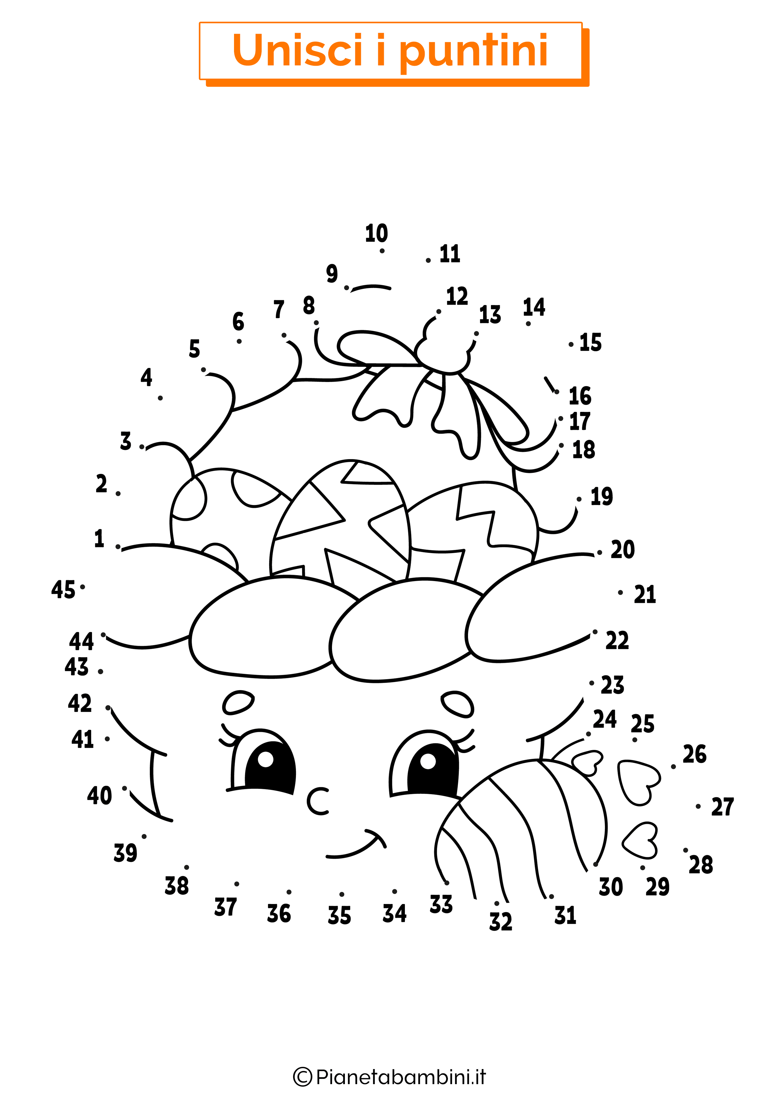 Disegno unisci i puntini 1-40 cesto uova pasquali