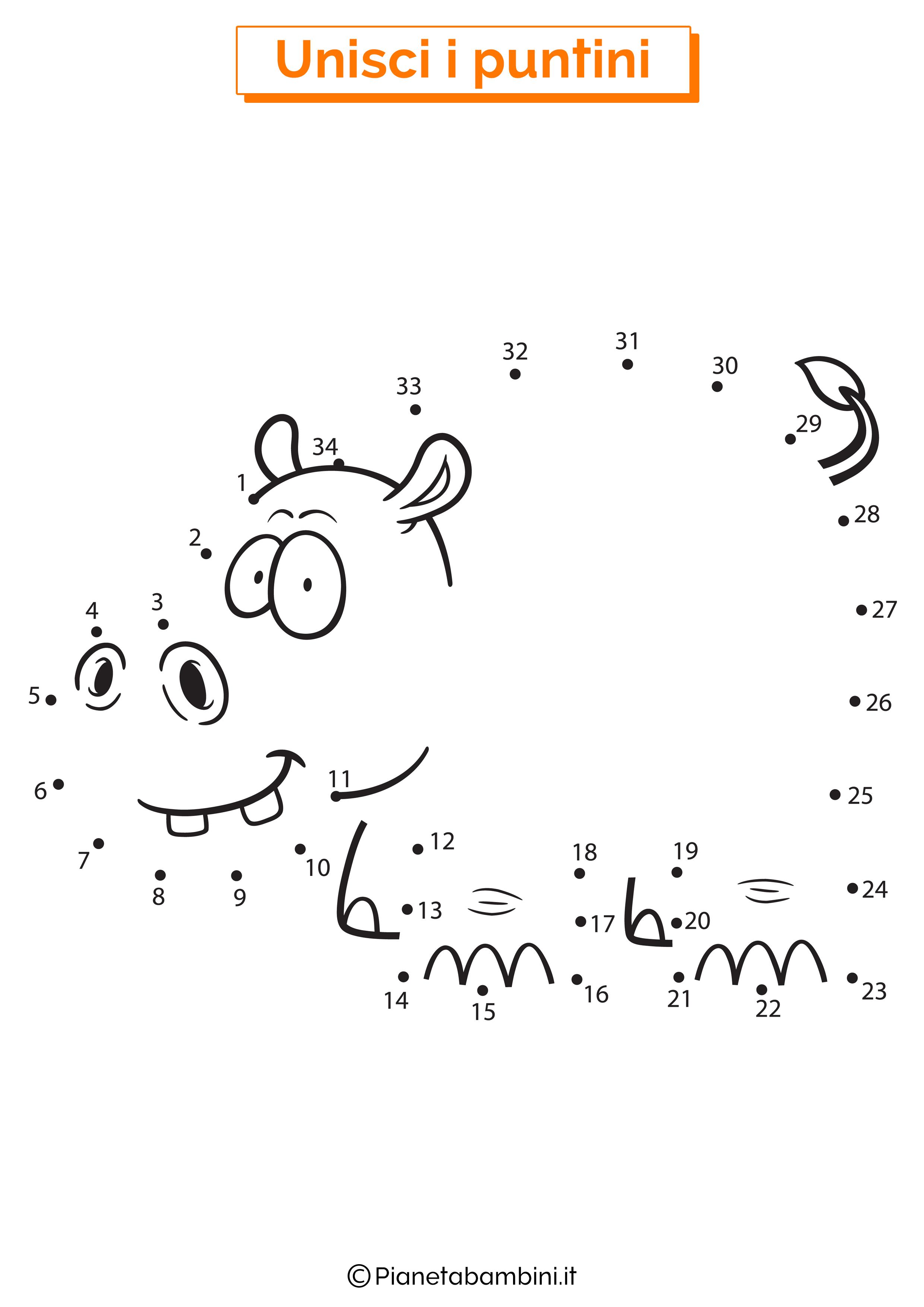 Disegno unisci i puntini 1-40 ippopotamo