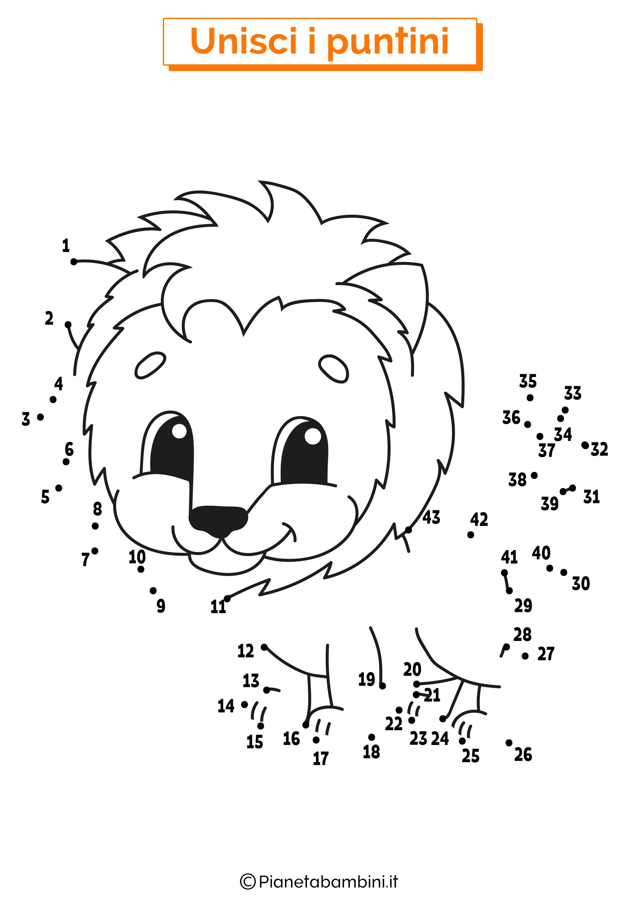 Disegno unisci i puntini 1-40 leone piccolo