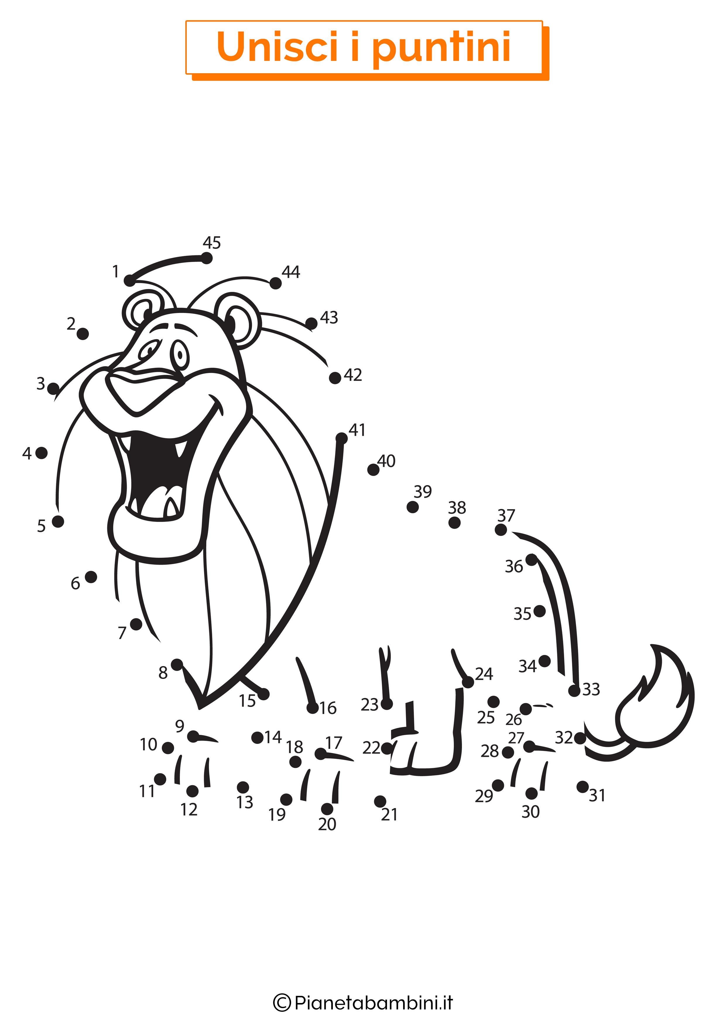 Disegno unisci i puntini 1-40 leone