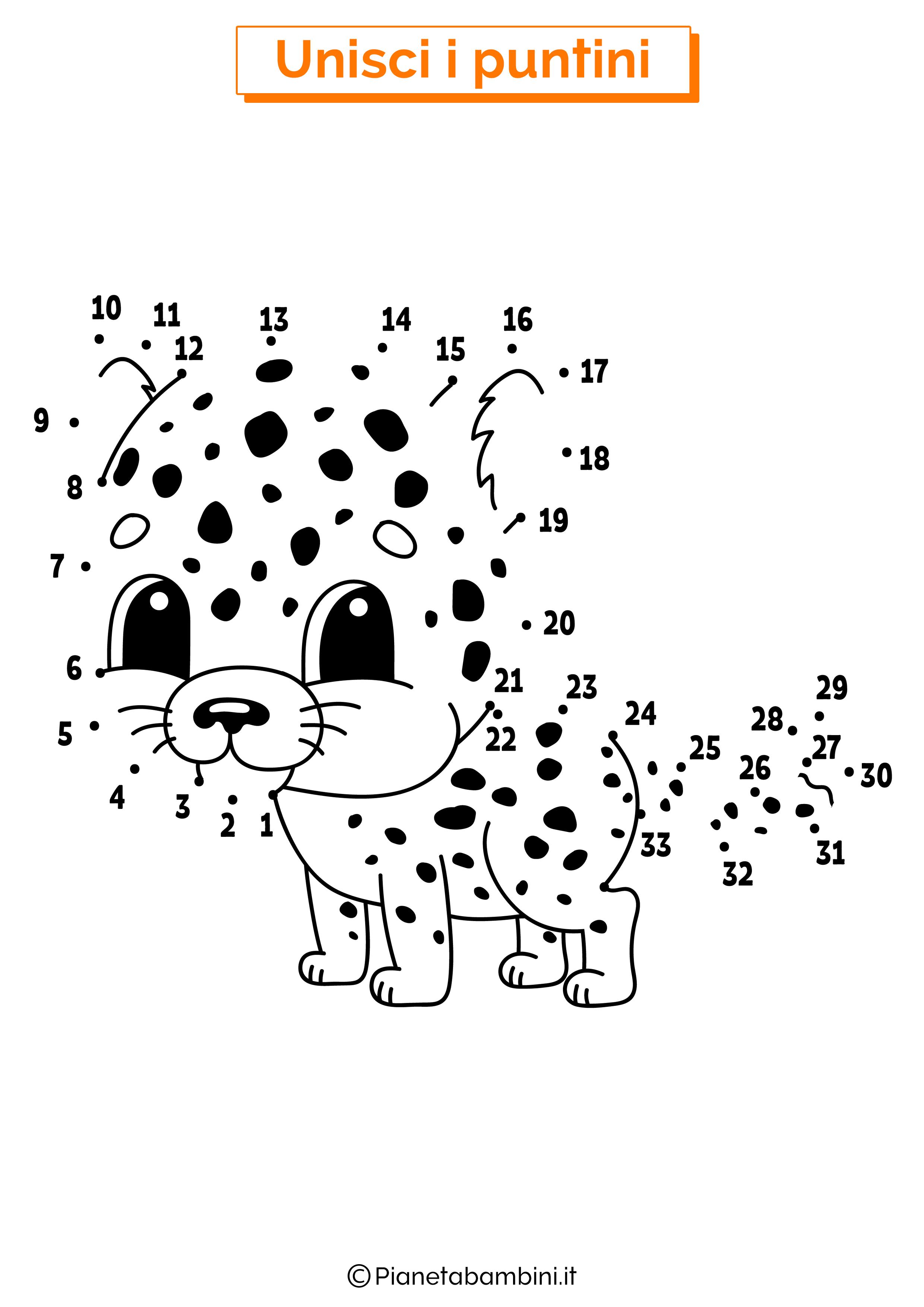 Disegno unisci i puntini 1-40 leopardo