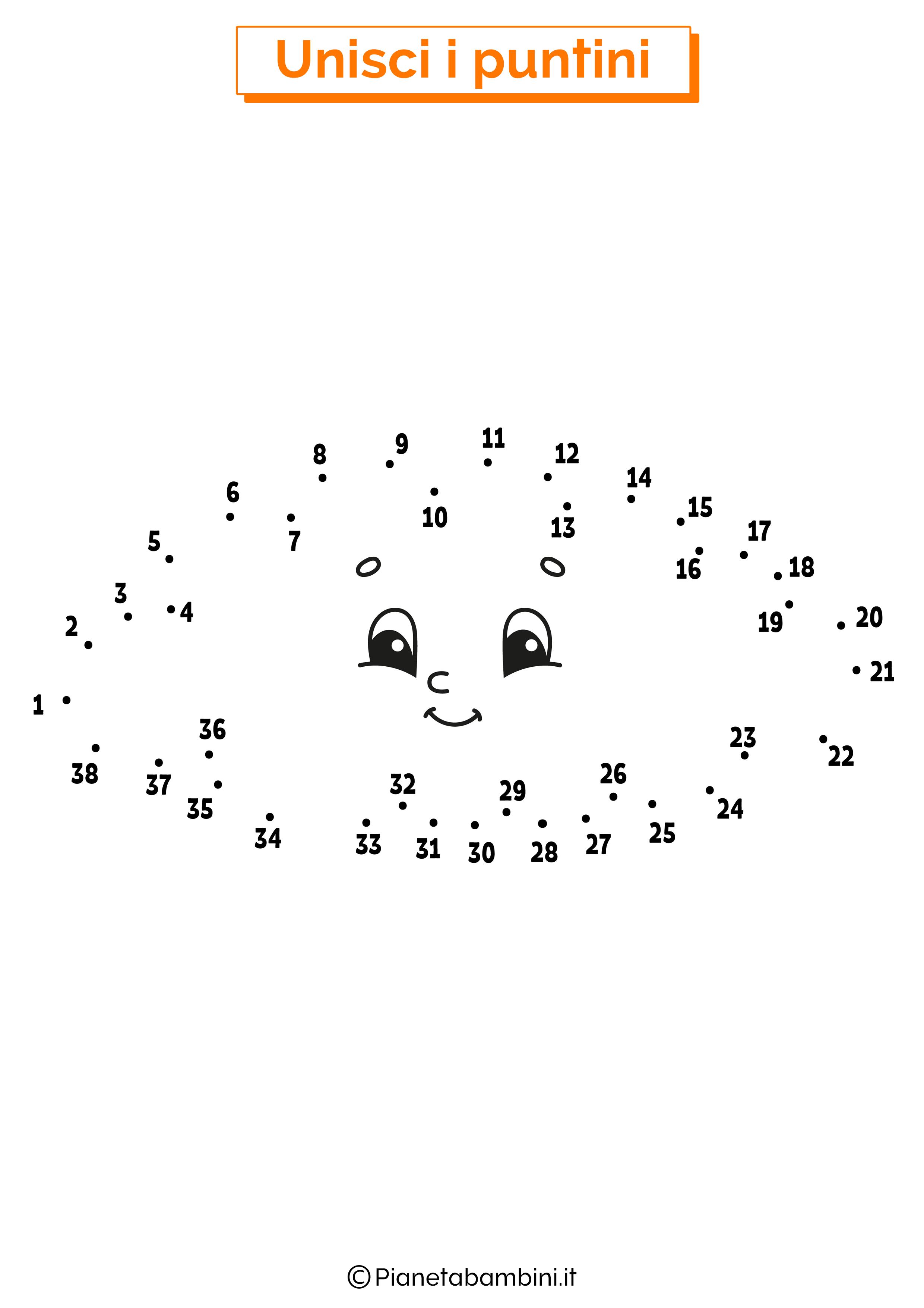 Disegno unisci i puntini 1-40 nuvola