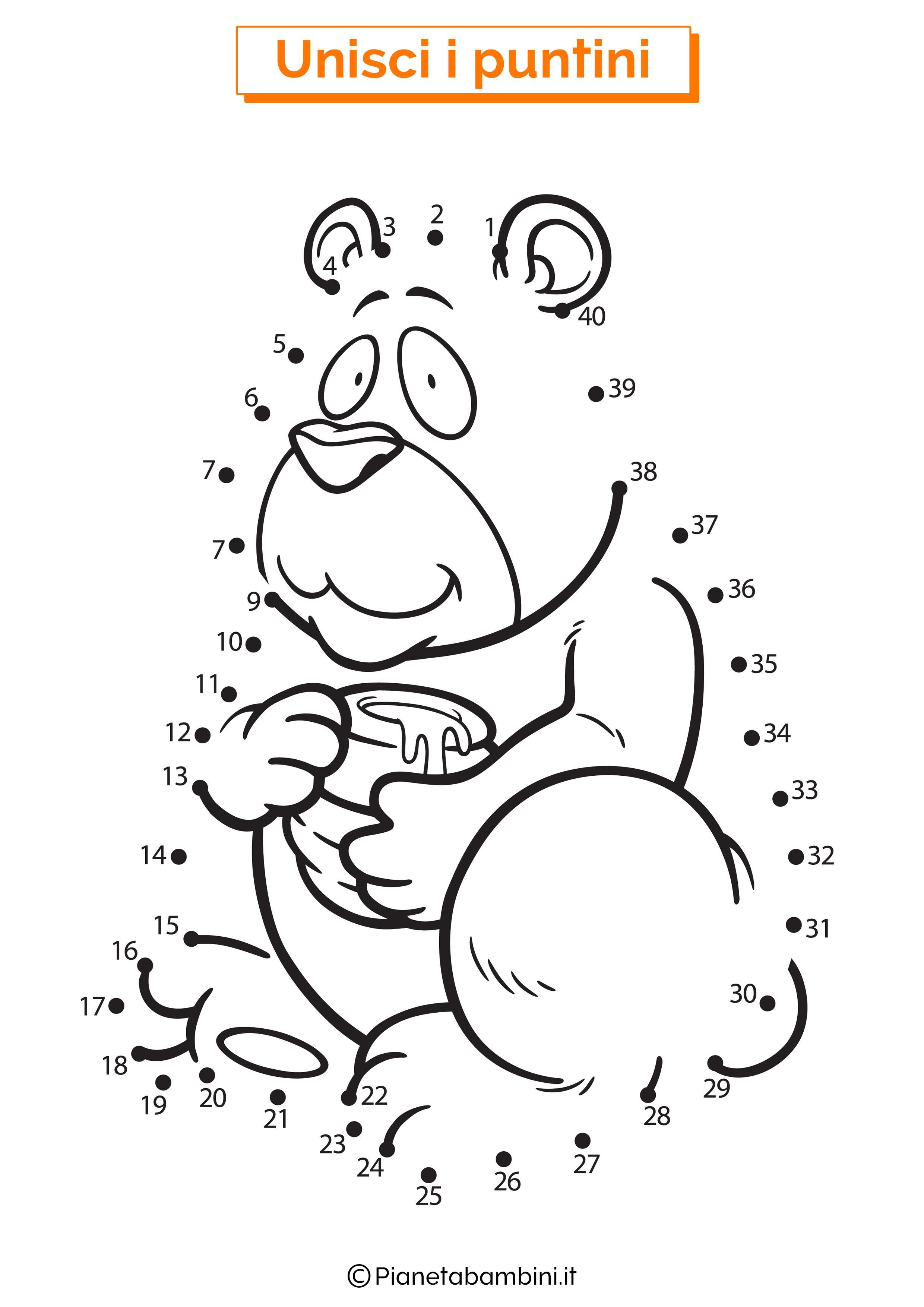 Disegno unisci i puntini 1-40 orso