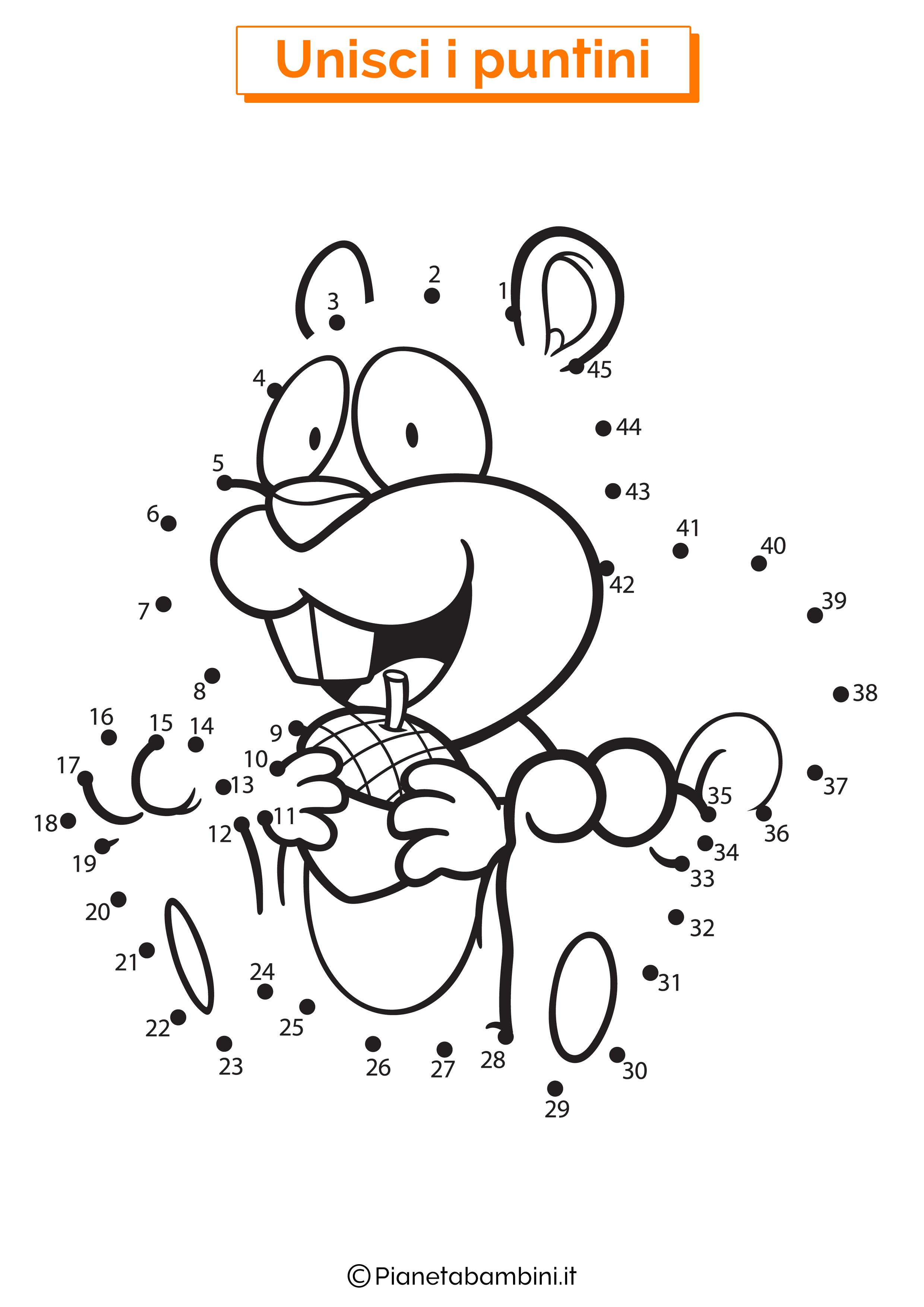 Disegno unisci i puntini 1-40 scoiattolo