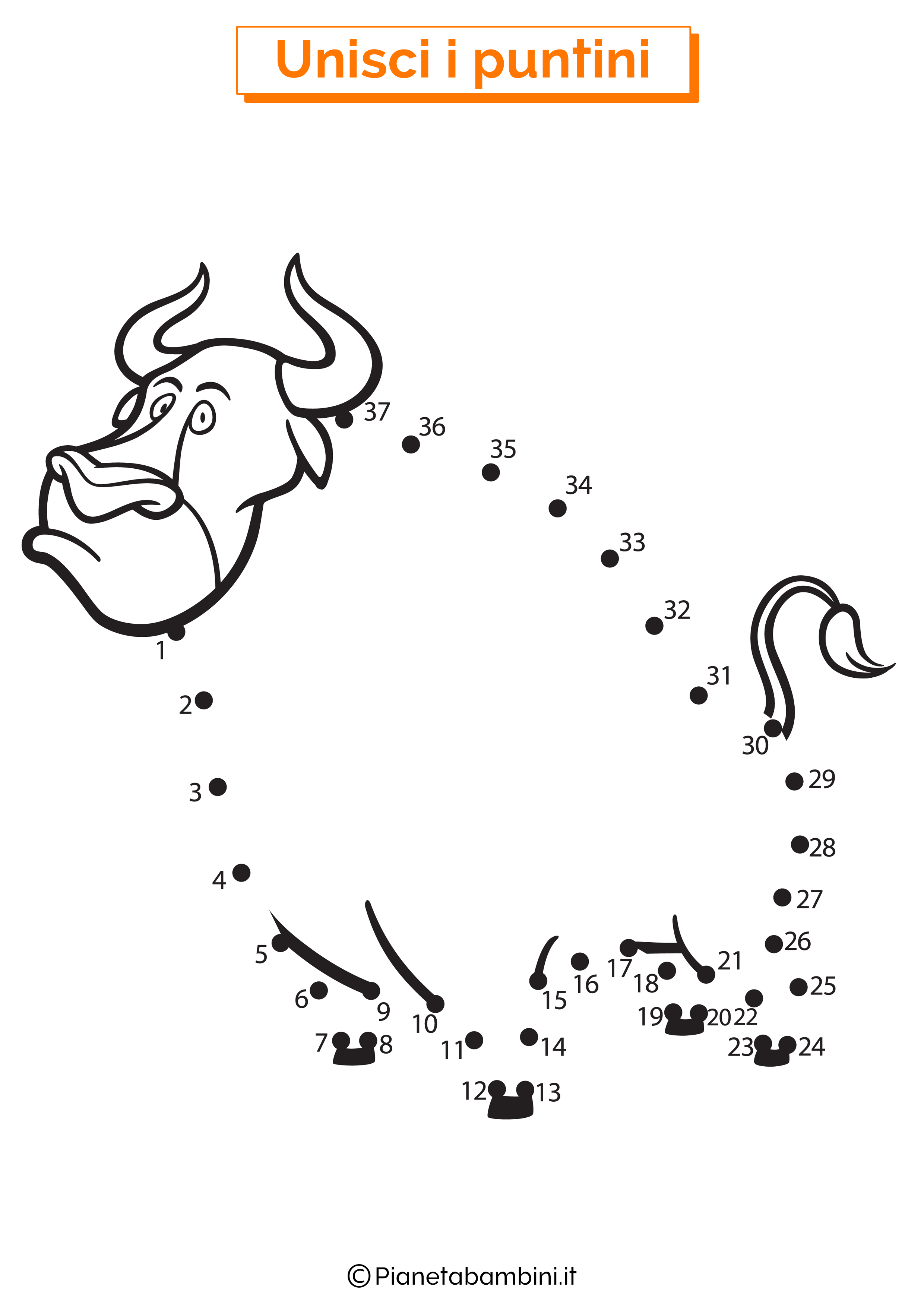 Disegno unisci i puntini 1-40 toro