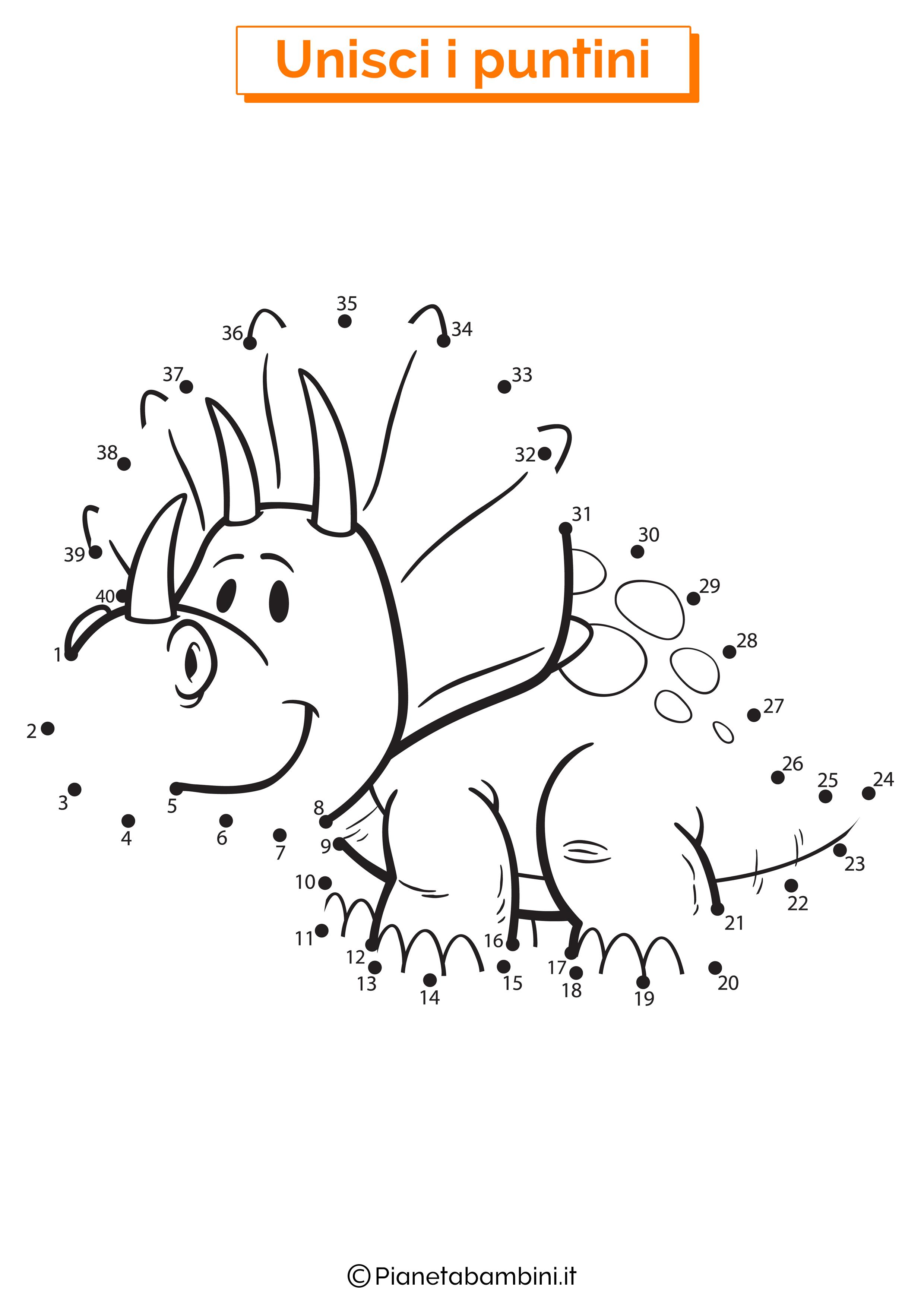 Disegno unisci i puntini 1-40 triceratopo