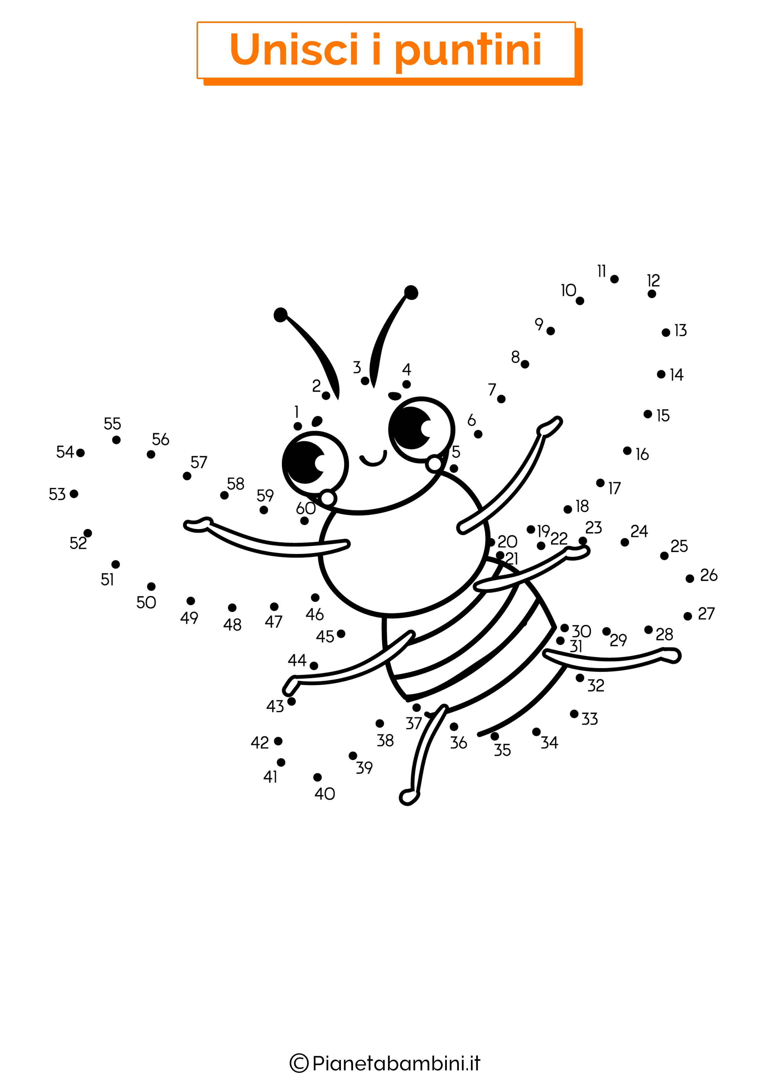 Disegno unisci i puntini da 1 a 50 ape