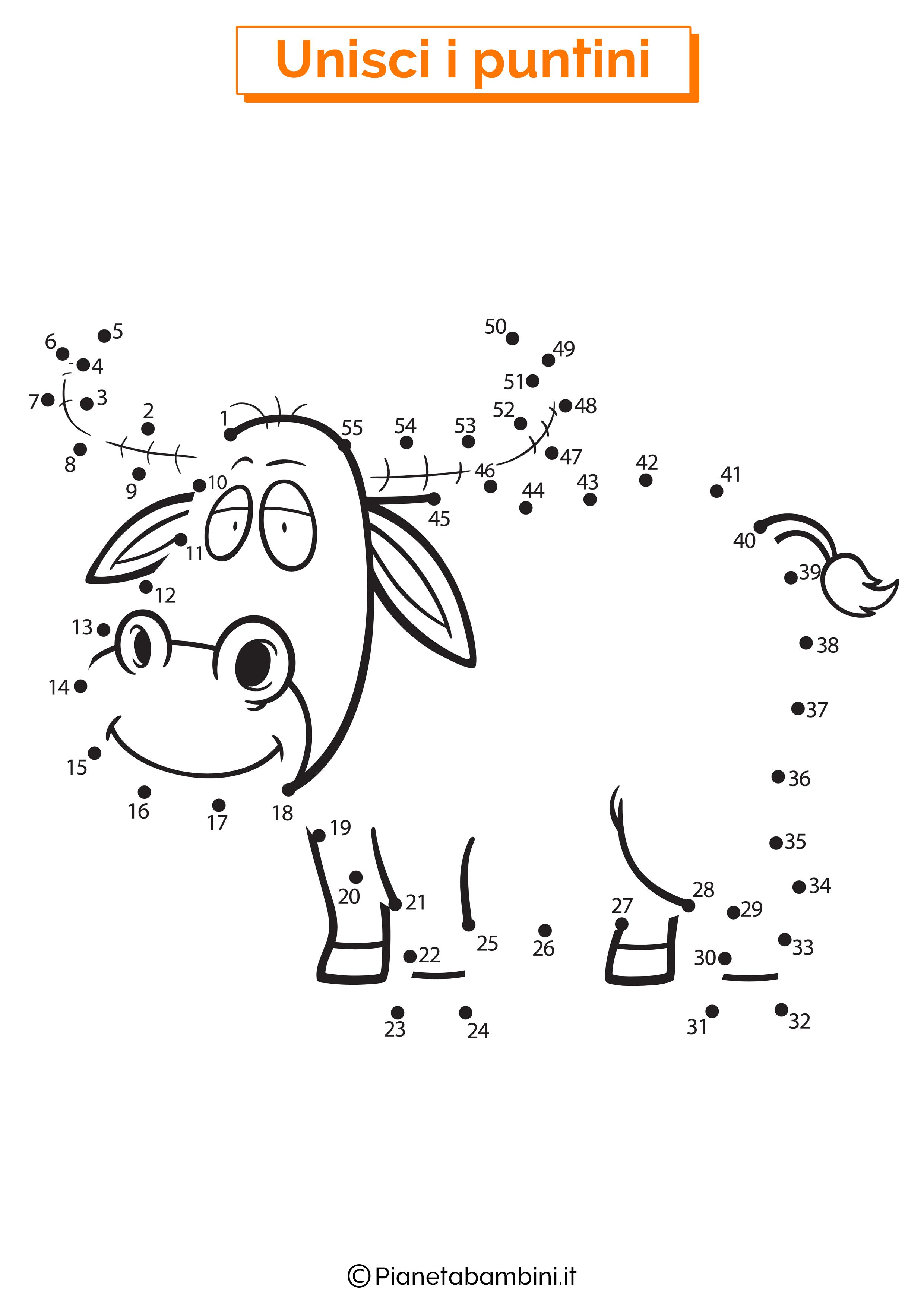 Disegno unisci i puntini da 1 a 50 bufalo
