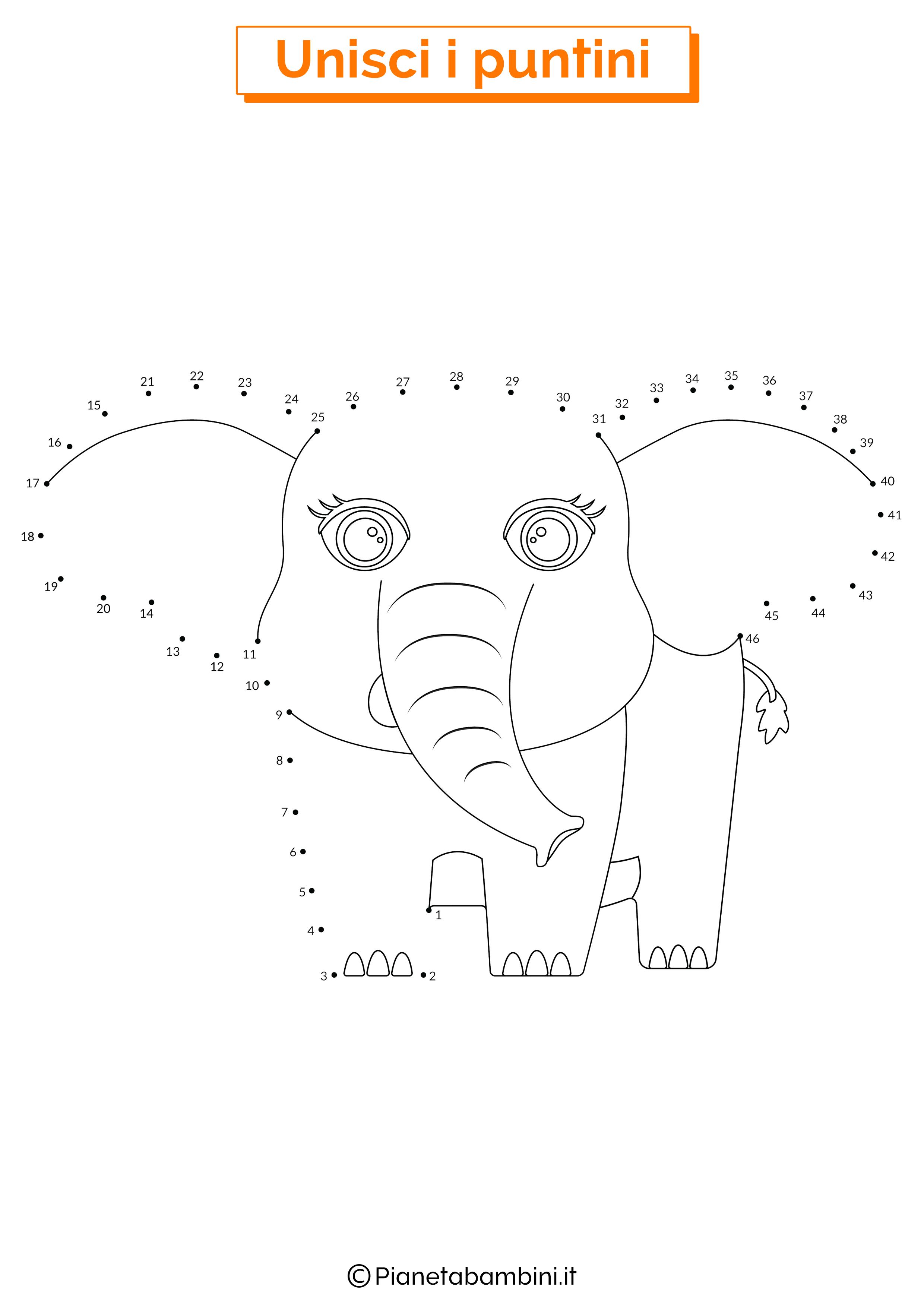 Disegno unisci i puntini da 1 a 50 elefante