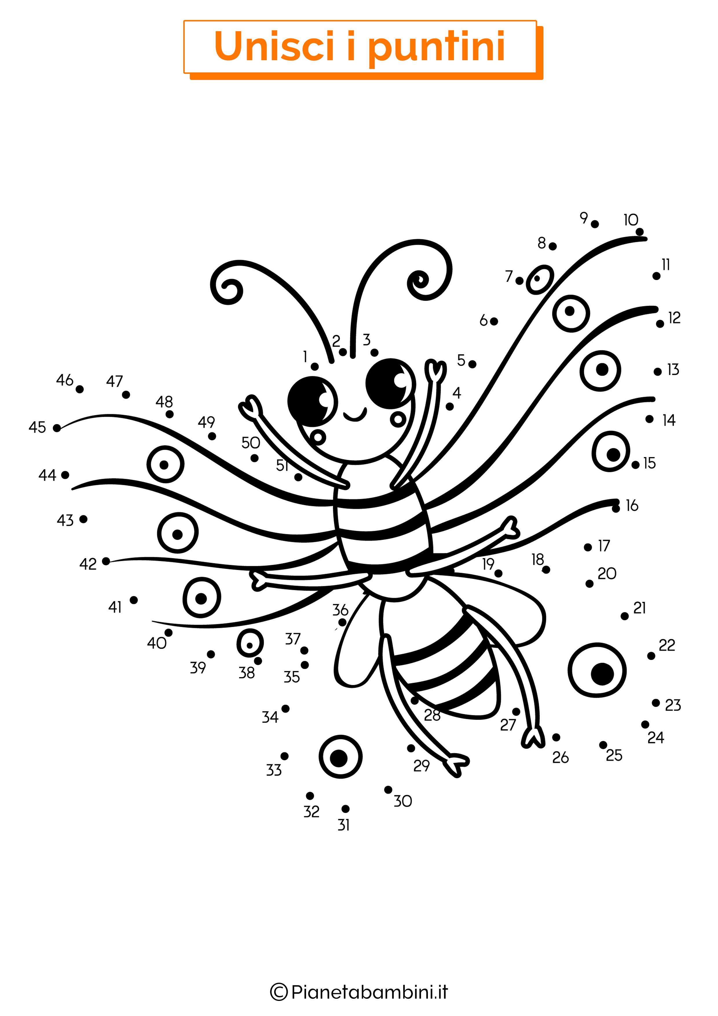 Disegno unisci i puntini da 1 a 50 farfalla