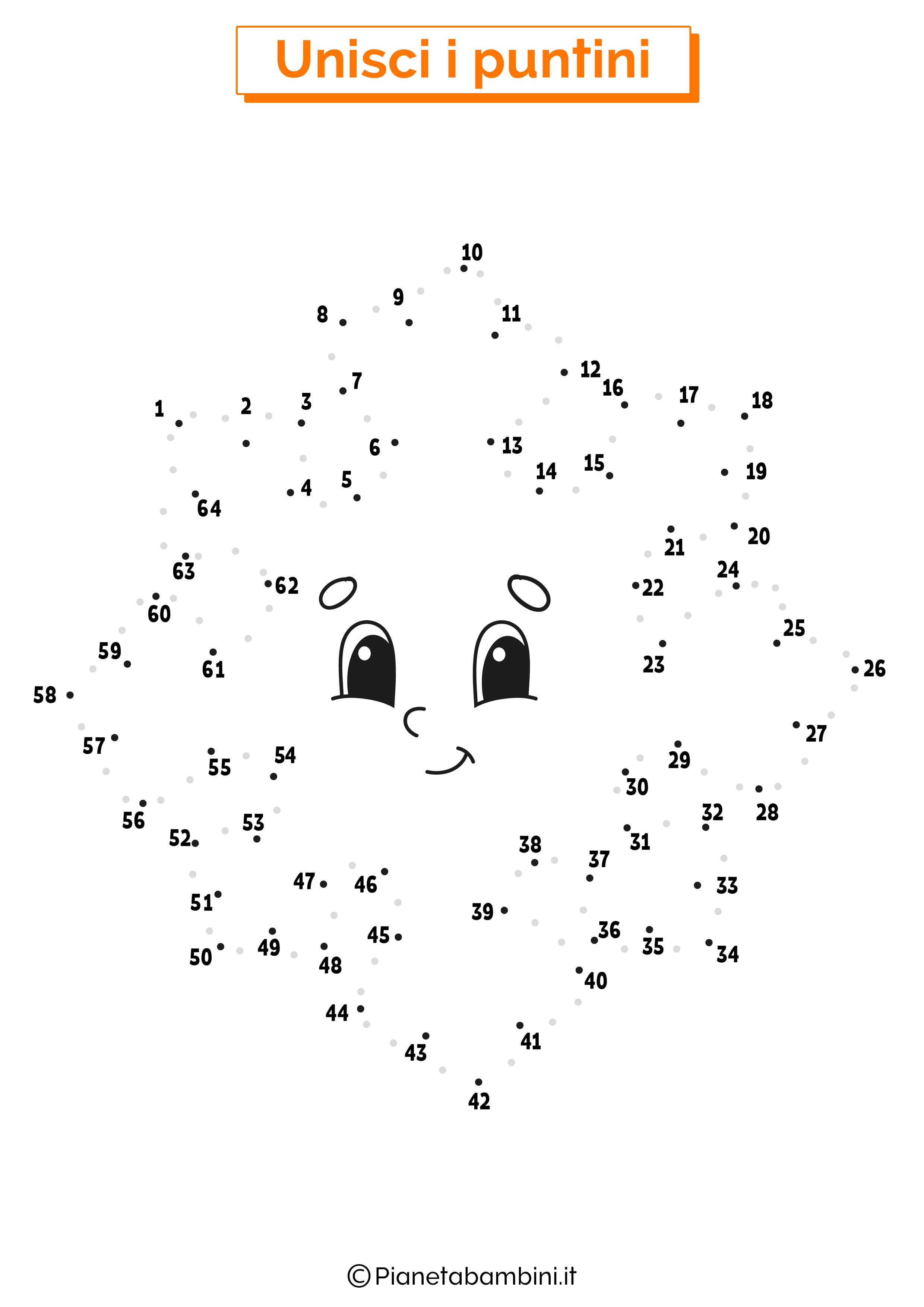Disegno unisci i puntini da 1 a 50 fiocco di neve