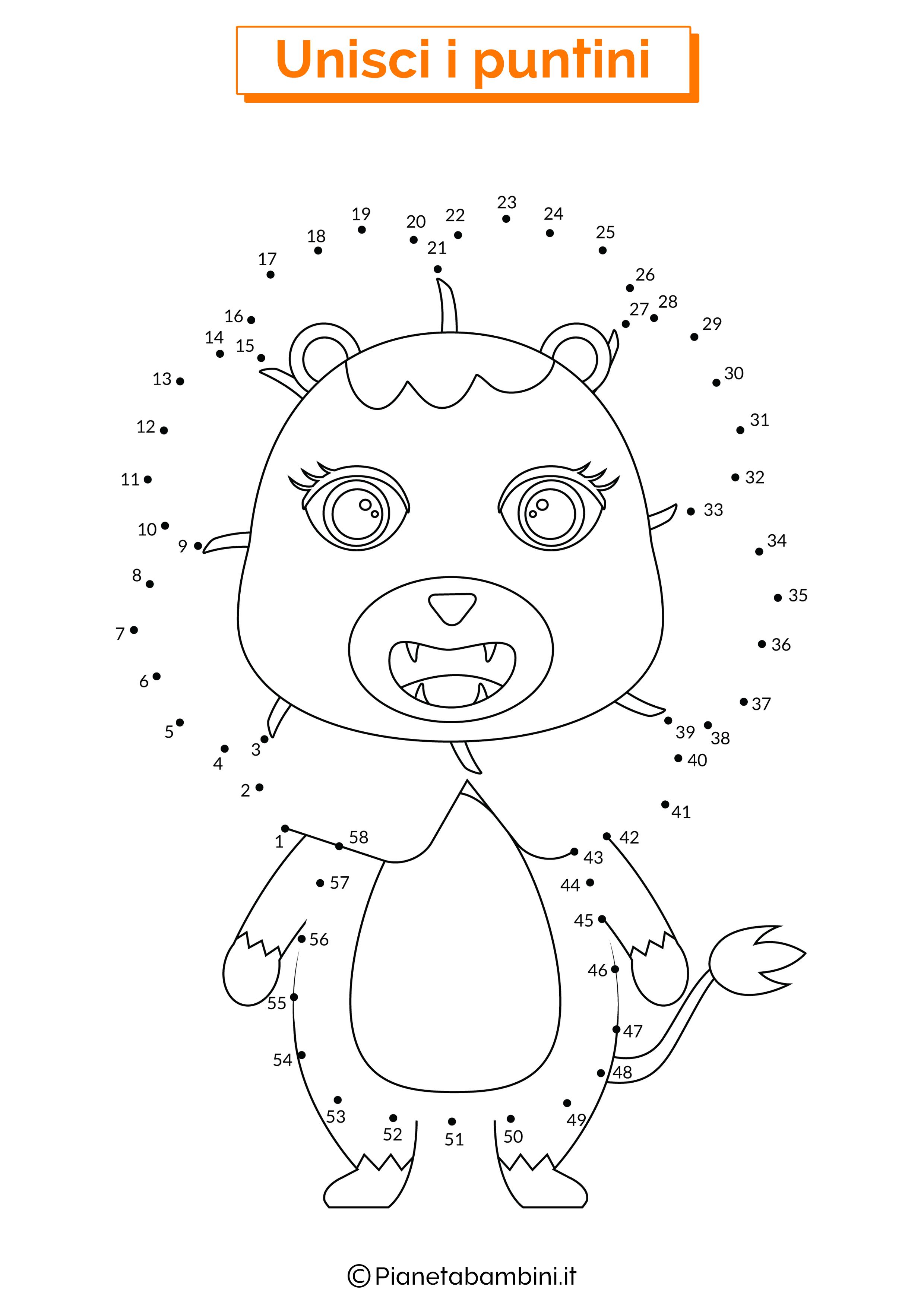 Disegno unisci i puntini da 1 a 50 leone