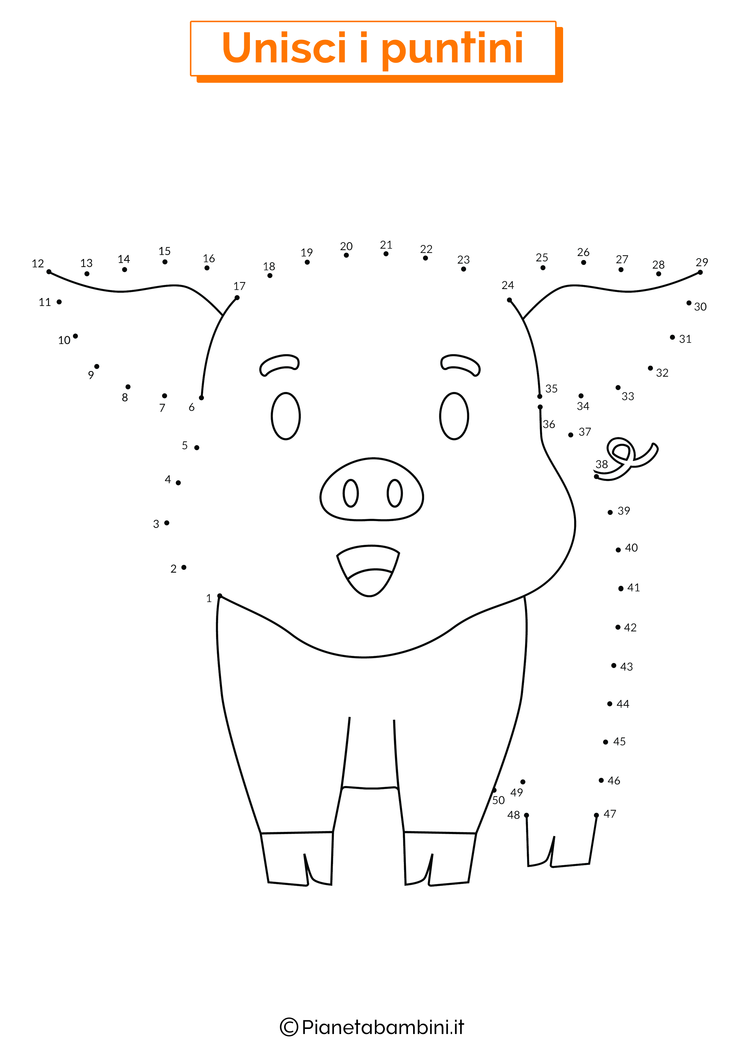 Disegno unisci i puntini da 1 a 50 maiale