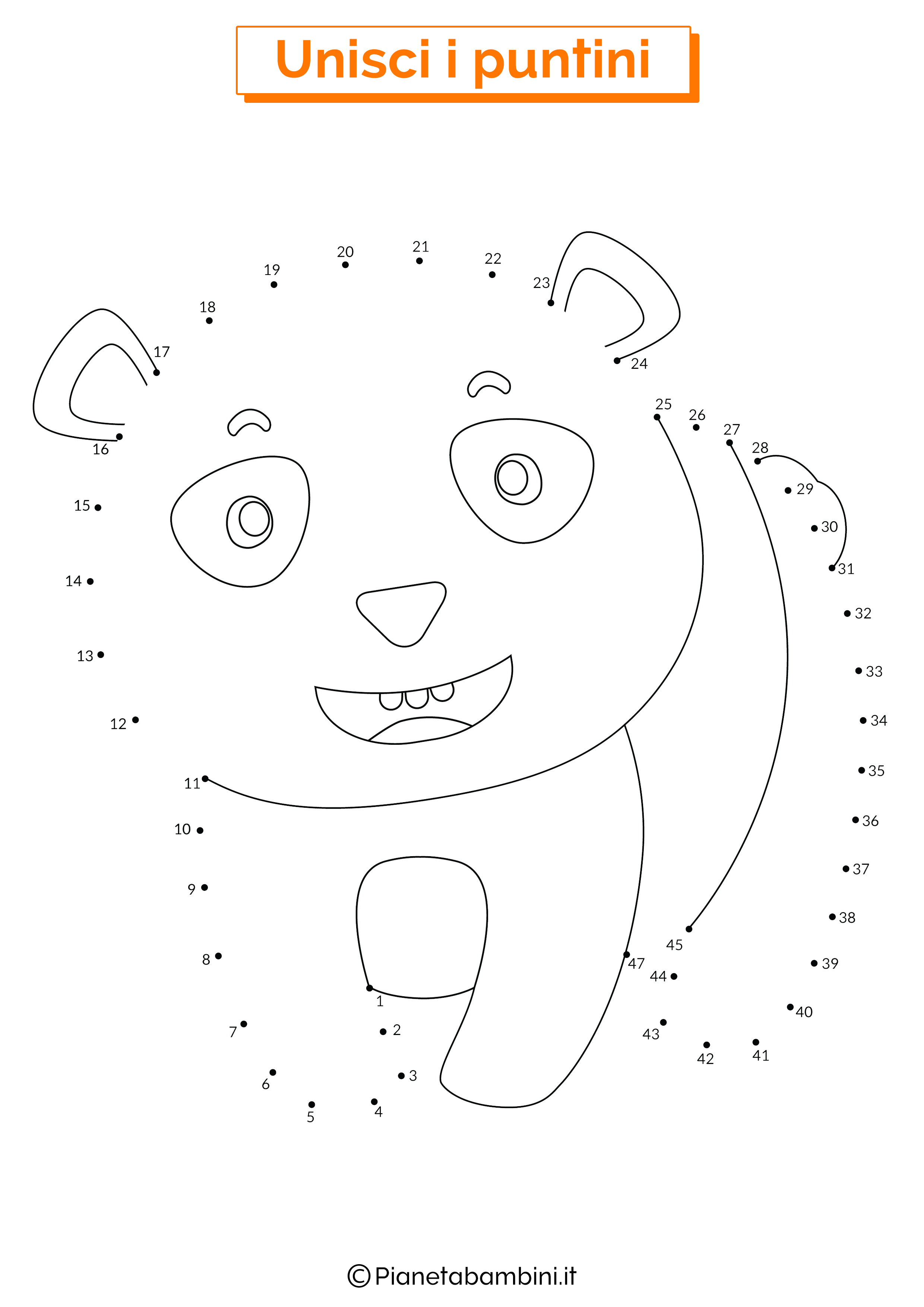 Disegno unisci i puntini da 1 a 50 panda