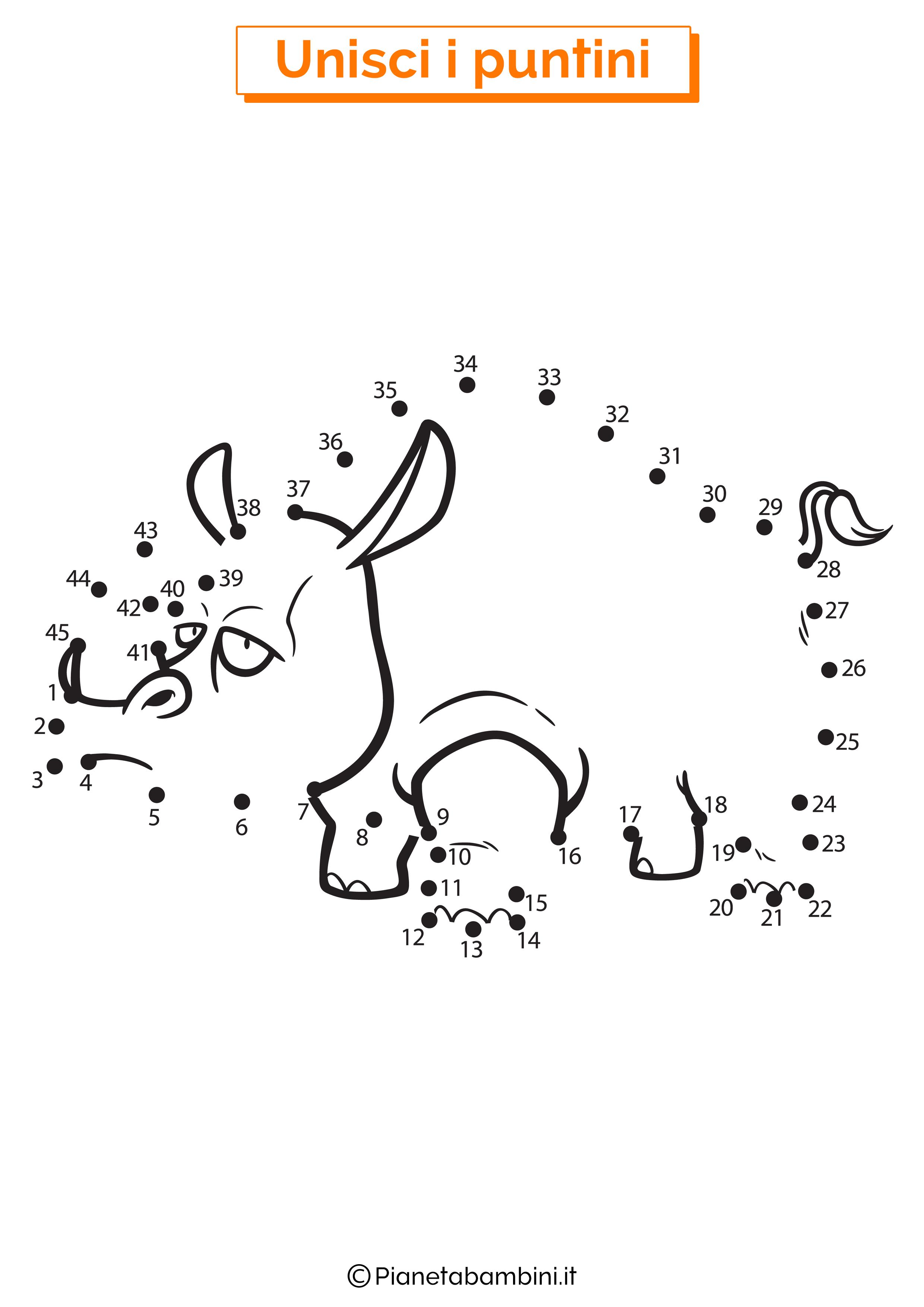 Disegno unisci i puntini da 1 a 50 rinoceronte