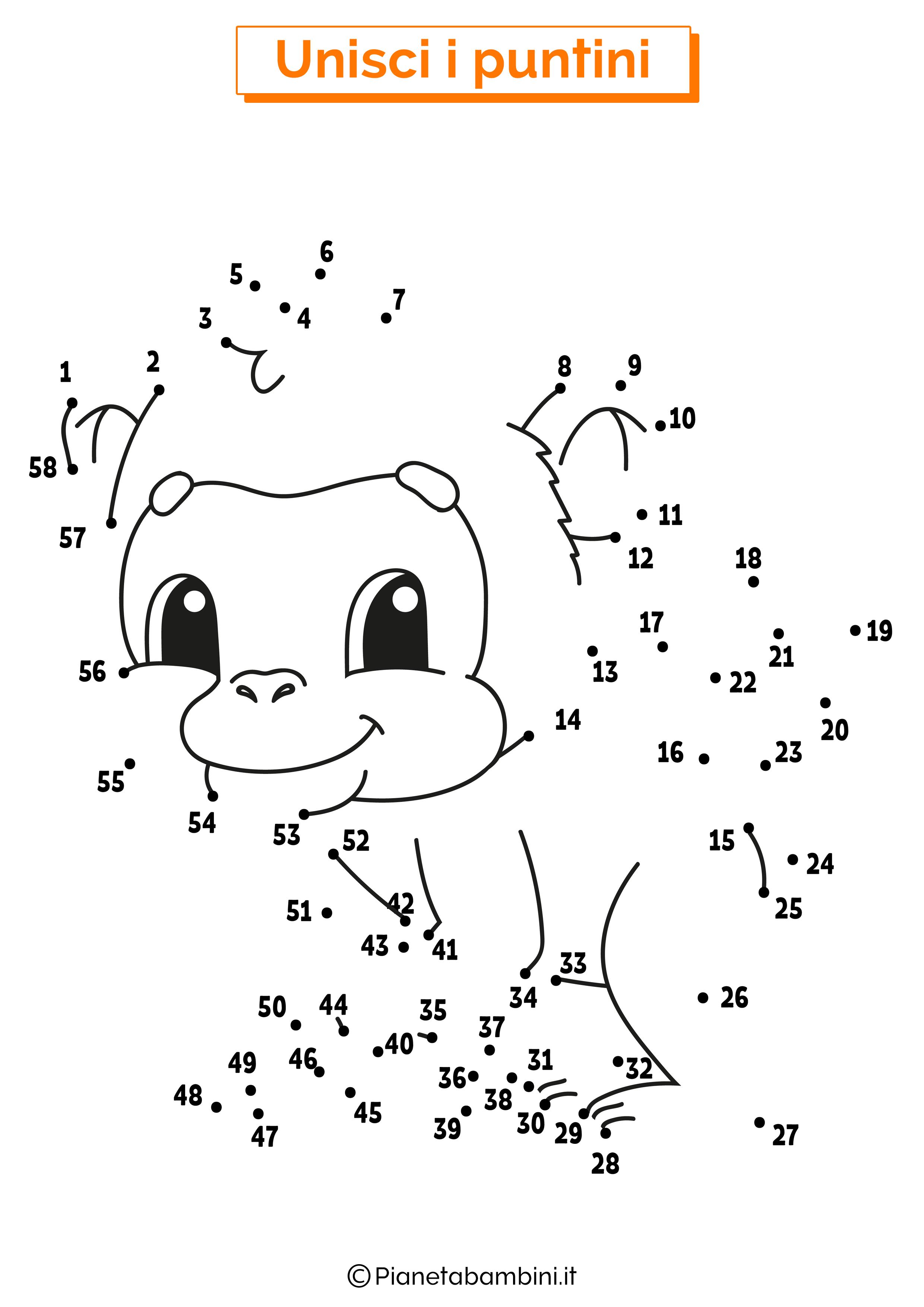 Disegno unisci i puntini da 1 a 50 scimmia