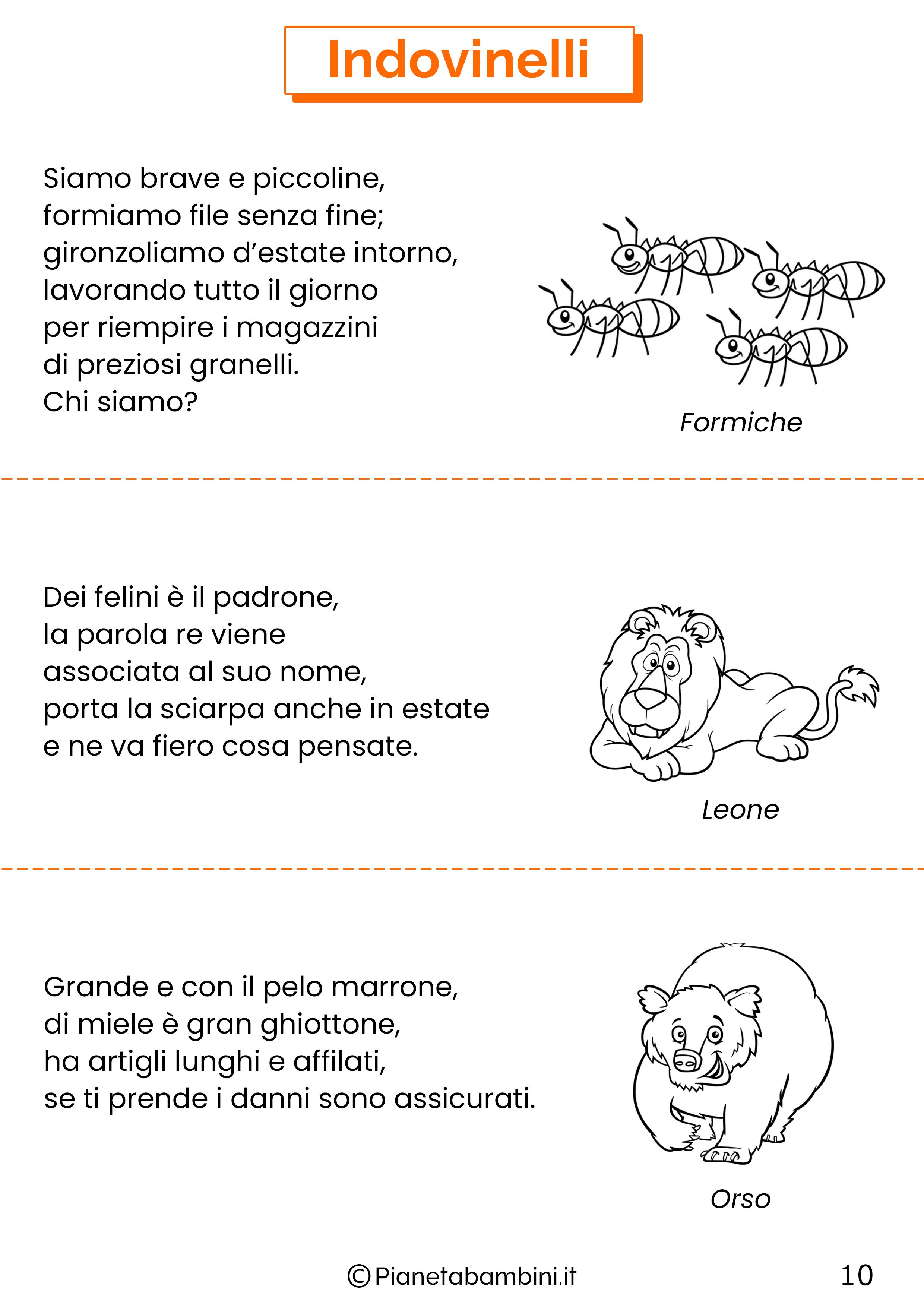 Indovinelli sugli animali per bambini 10