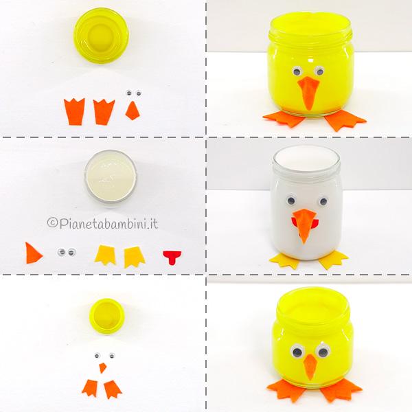 Creazione dei pulcini con barattoli di vetro