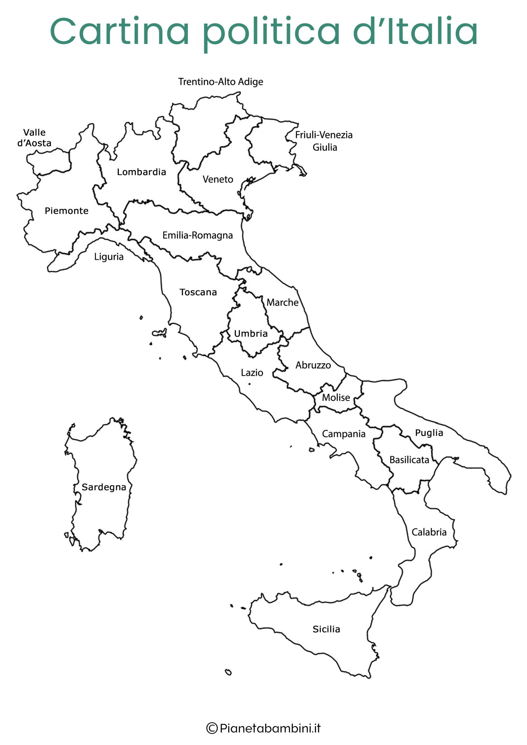 Cartina Italia Da Colorare Con Regioni.Cartine Dell Italia Da Colorare Pianetabambini It