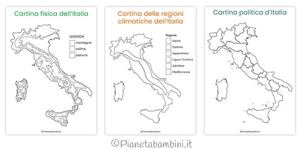 Italia Climatica Cartina.Cartine Dell Italia Da Colorare Pianetabambini It