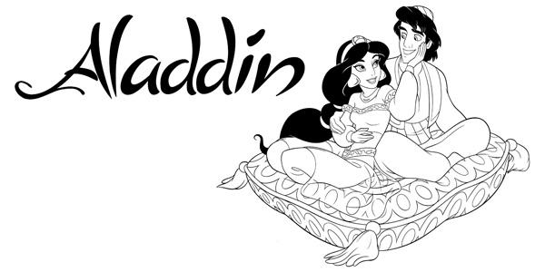 Disegni della principessa Jasmine e Aladdin da stampare e colorare