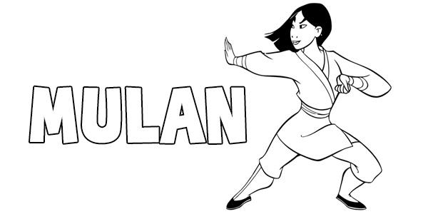 Disegni di Mulan da stampare e colorare