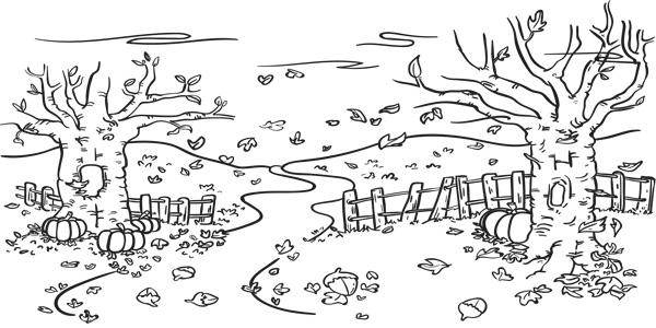 Disegni di paesaggi autunnali da stampare gratis per bambini