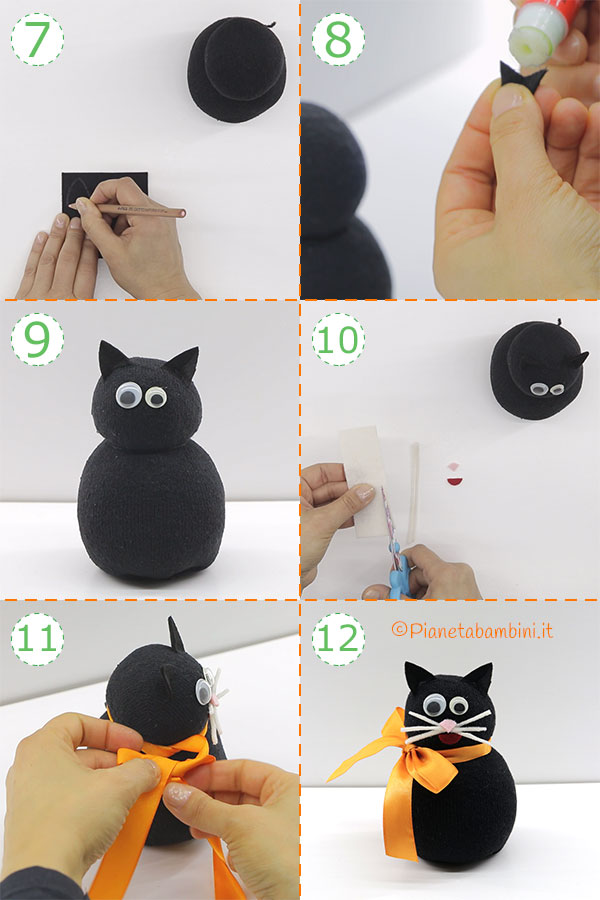 Come creare il gatto nero con calzino e riso